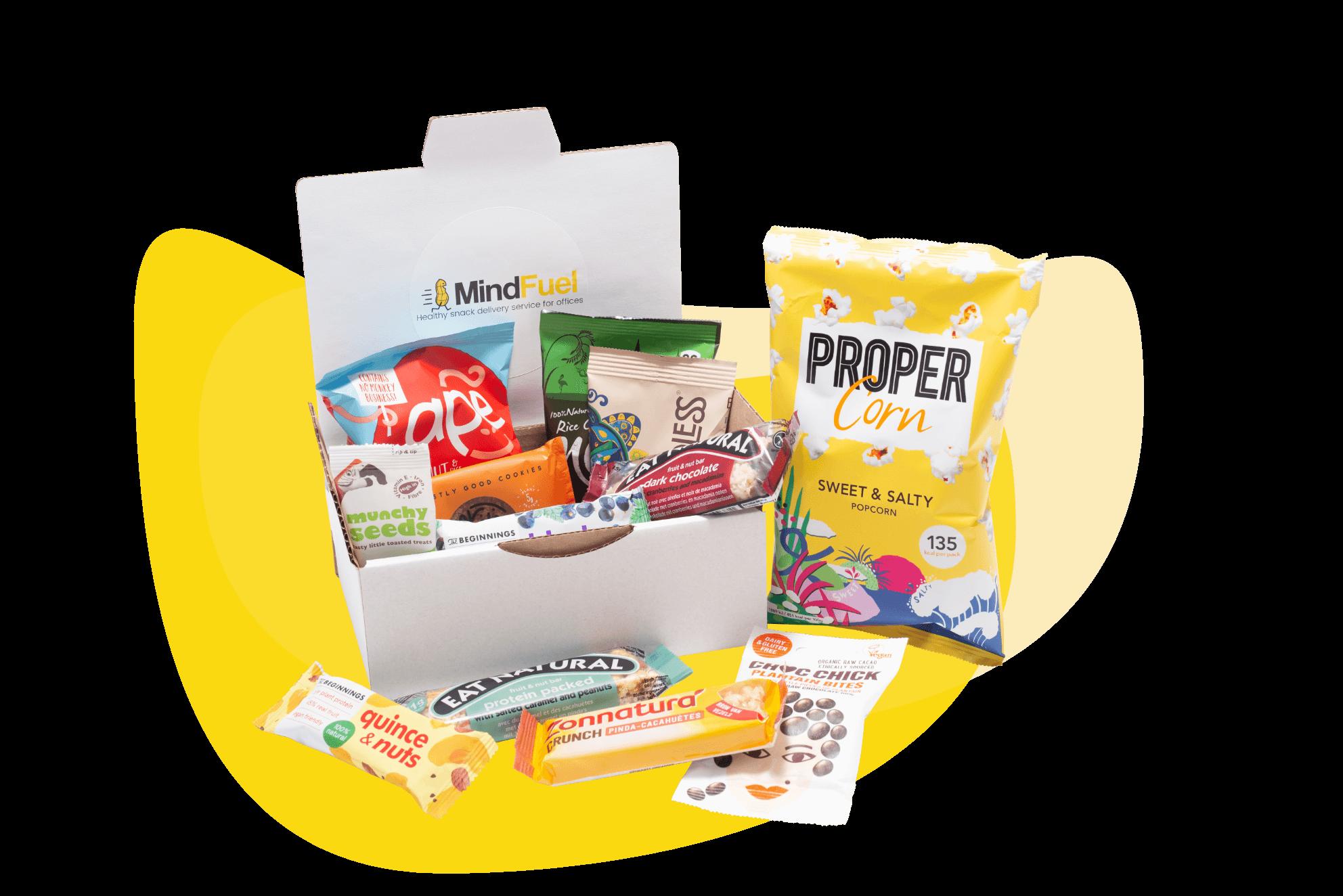 Mindfuel testpakket met gezonde snacks voor op kantoor